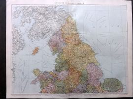 Gross 1920 Large Map. England & Wales - North